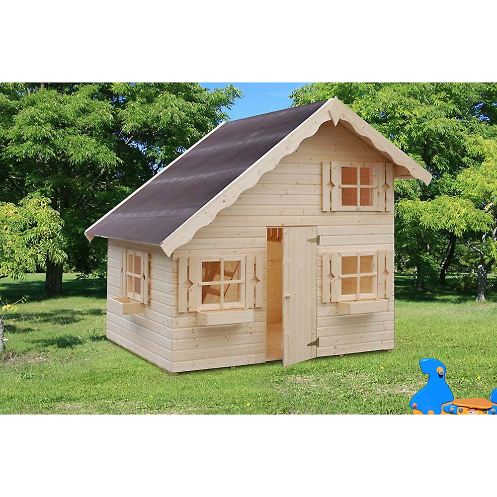 gro es kinder spielhaus gartenhaus heidi aus holz unbehandelt 220x180x228 cm ebay. Black Bedroom Furniture Sets. Home Design Ideas