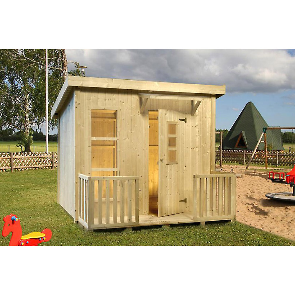 kinderspielhaus lars 199x163 cm gartenhaus holz f kinder mit pultdach flachdach ebay. Black Bedroom Furniture Sets. Home Design Ideas