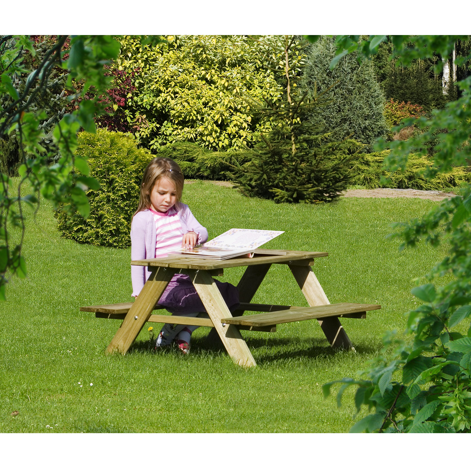 kinderpicknicktisch bank kinder gartenm bel aus holz von gartenpirat de ebay. Black Bedroom Furniture Sets. Home Design Ideas