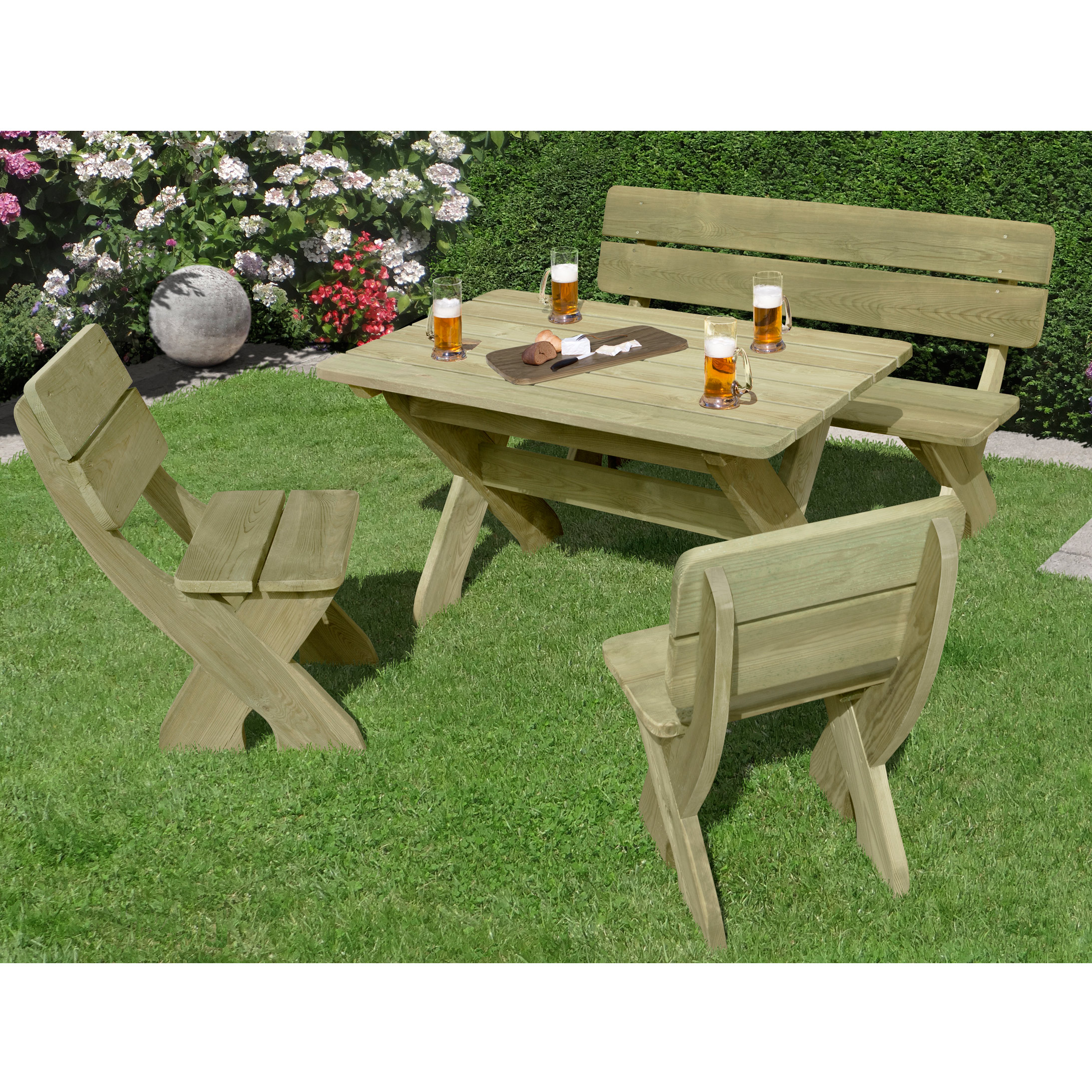 sitzgruppe toskana holz garten gartenm bel wetterfest ebay. Black Bedroom Furniture Sets. Home Design Ideas