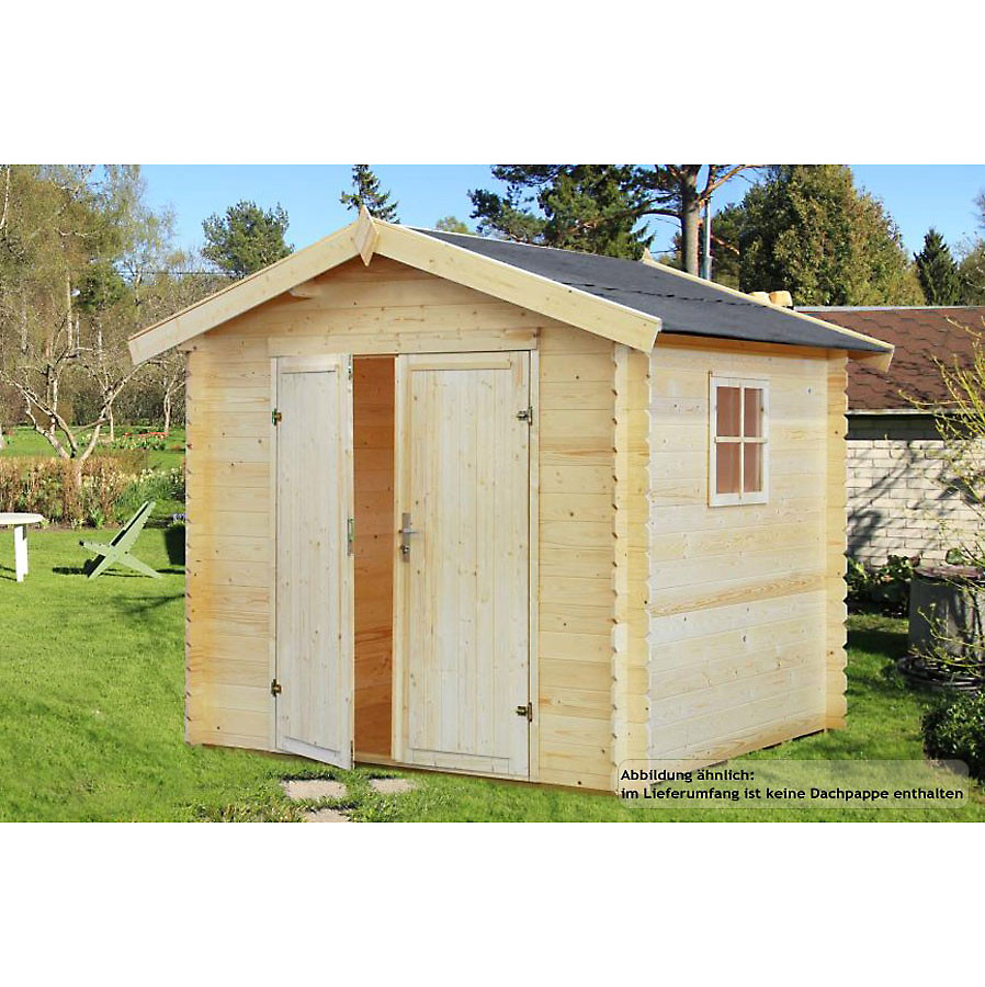 gartenhaus augsburg 220 x 250 cm blockhaus aus holz mit fu boden wand 19 mm ebay. Black Bedroom Furniture Sets. Home Design Ideas