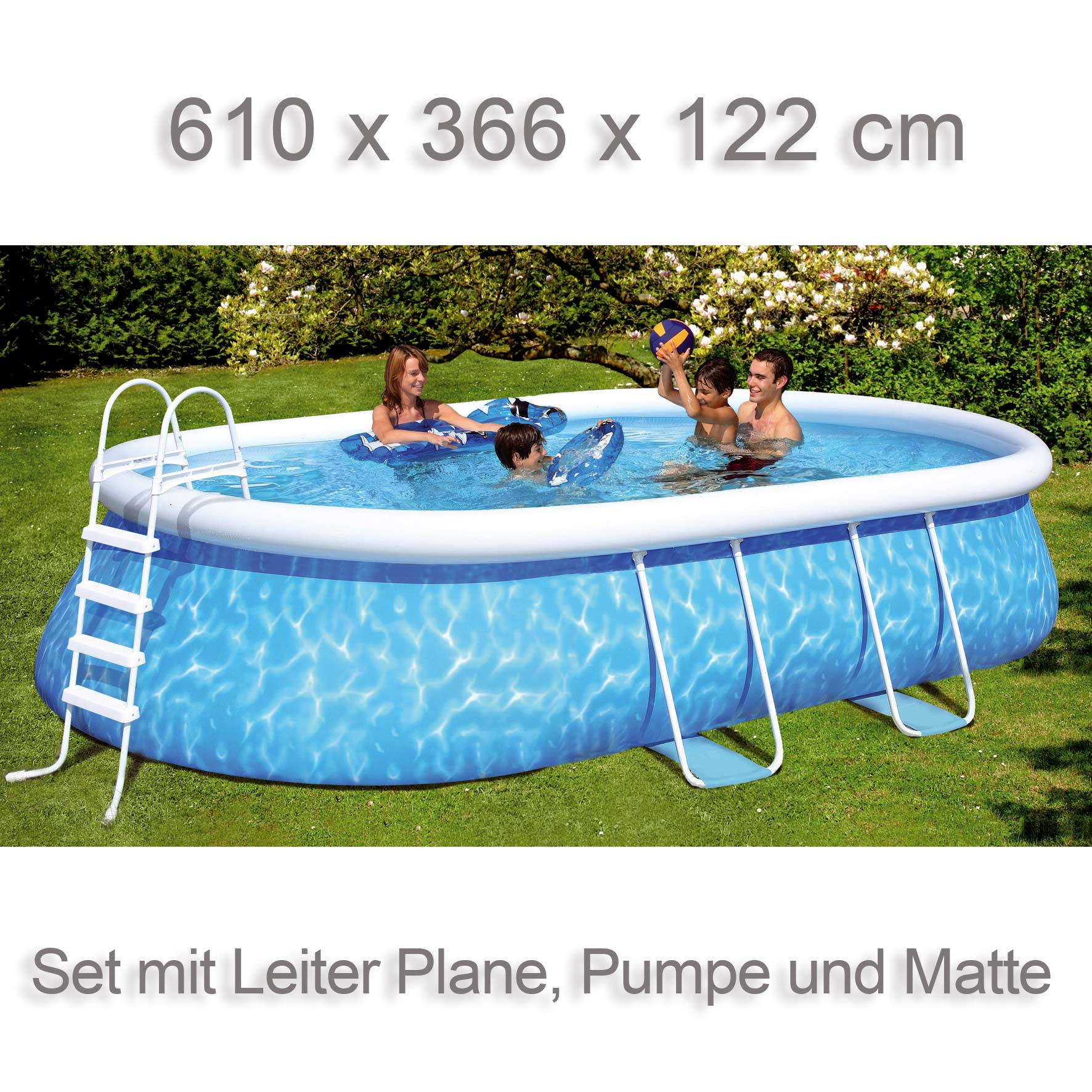 Quick up pool manhattan 610x366x122 oval set mit leiter for Quick up pool oval