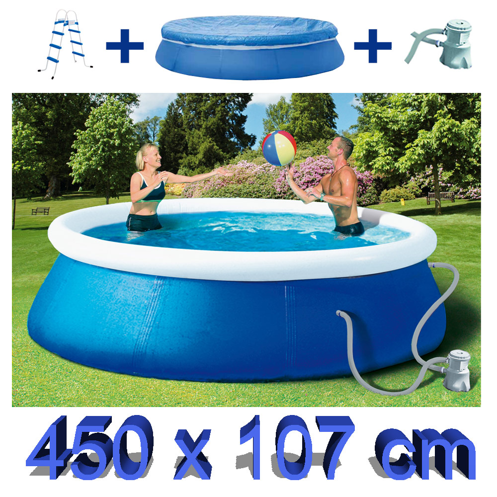 Quick up pool 450 cm x 107 cm set mit pumpe abdeckplane for Pool aufblasbar mit pumpe