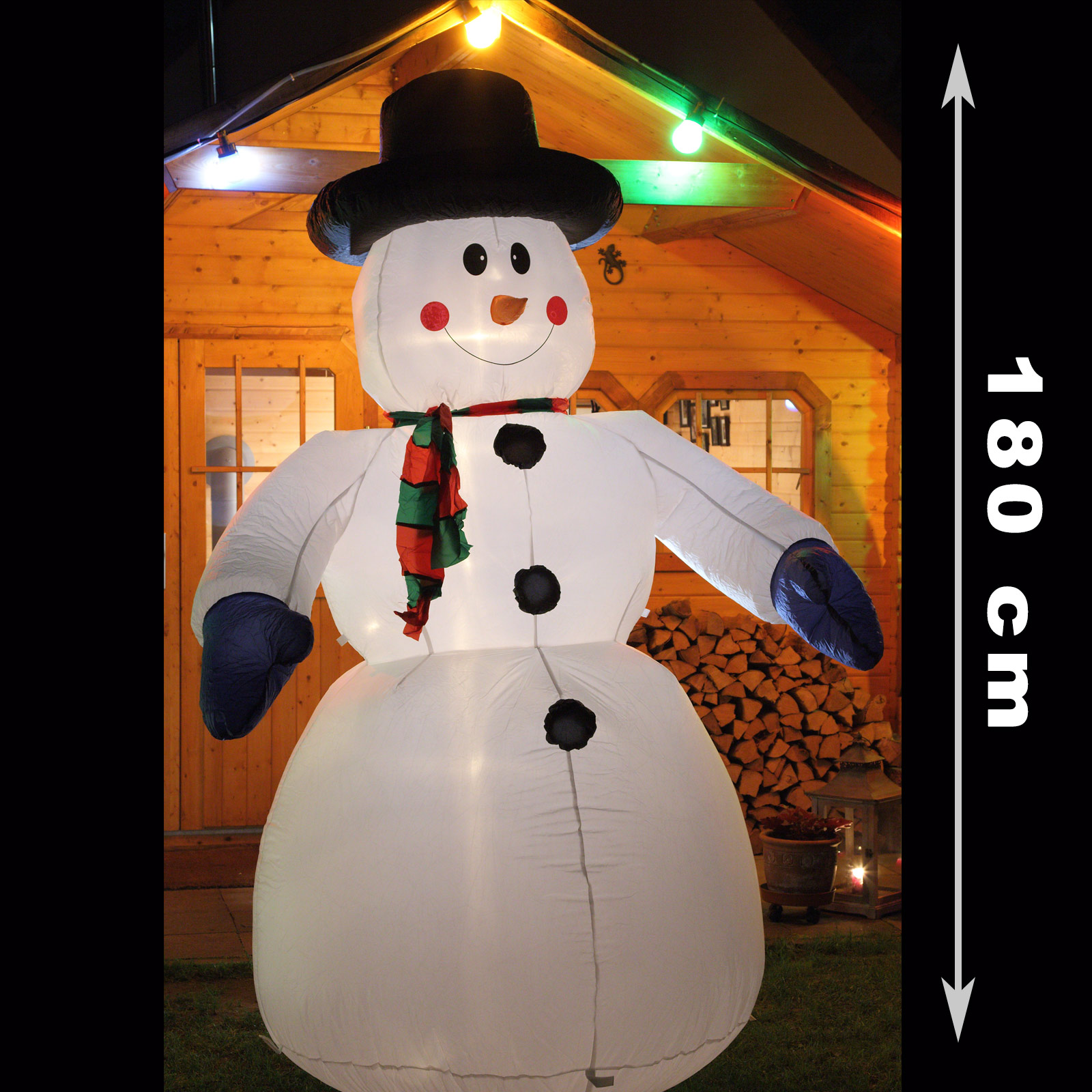 schneemann 180 cm weihnachtsfigur aufblasbar beleuchtet weihnachtsdeko au en ebay. Black Bedroom Furniture Sets. Home Design Ideas
