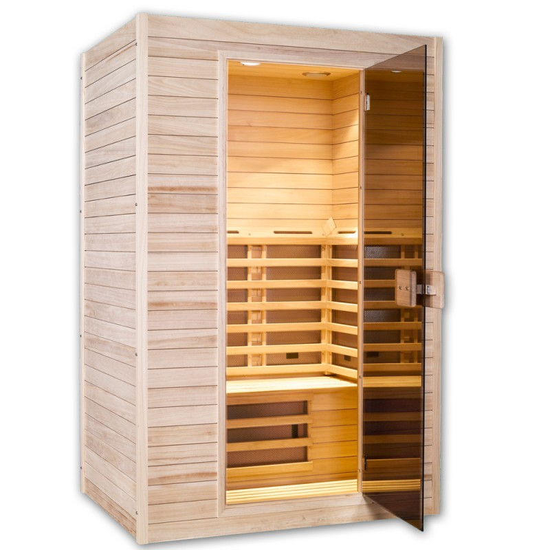 w rmekabine mit fl chenstrahler infrarot sauna karbon ebay. Black Bedroom Furniture Sets. Home Design Ideas